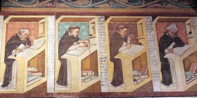 Salle capitulaire de Trévise avec frises peintes